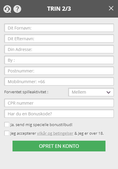 Opret konto hos Casinosjov.dk med din bonuskode
