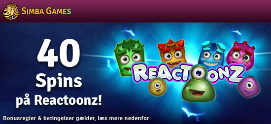 Modtag 40 gratis spins på Reactoonz