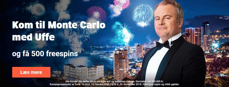 Få hele 500 free spins med Uffe Holm og vind en rejse til Monte Carlo