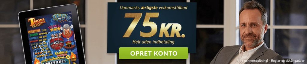 Spillehallen.dk har uden tvivl Danmarks ærligste velkomststilbud på hele 75 kr. kvit og frit