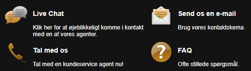 Danske chat og telefon support